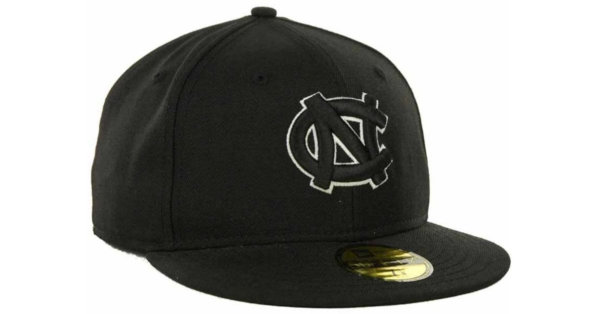 info for a0a54 9514b KTZ North Carolina Tar Heels Black On Black With White 59fifty Cap in Black  for Men - Lyst