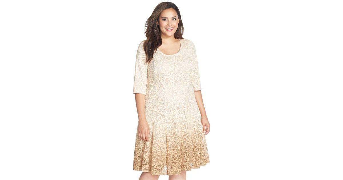 93d3dc97 Lyst - Chetta B 'magic' Ombre Lace Fit & Flare Dress in Metallic