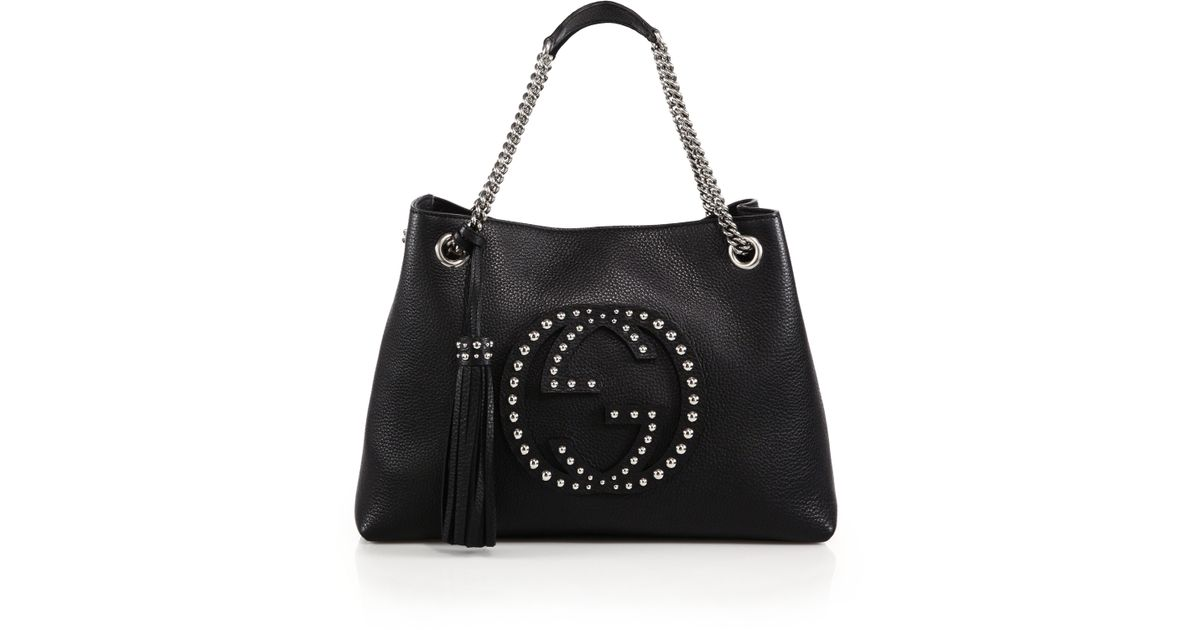 3206c5b9d92f2b Lyst - Gucci Soho Medium Studded Leather Chain Shoulder Bag in Black