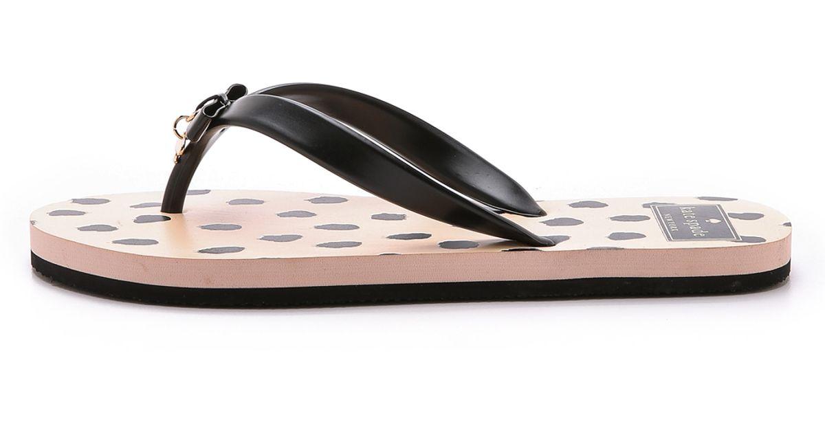 be1569693747 Kate Spade New York Fifi Flip Flops - Black shell Flamingo Dots in Black -  Lyst