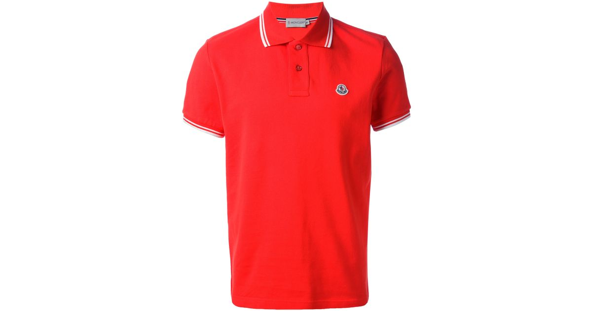 818a02245 Lyst - Moncler Classic Polo Shirt in Red for Men
