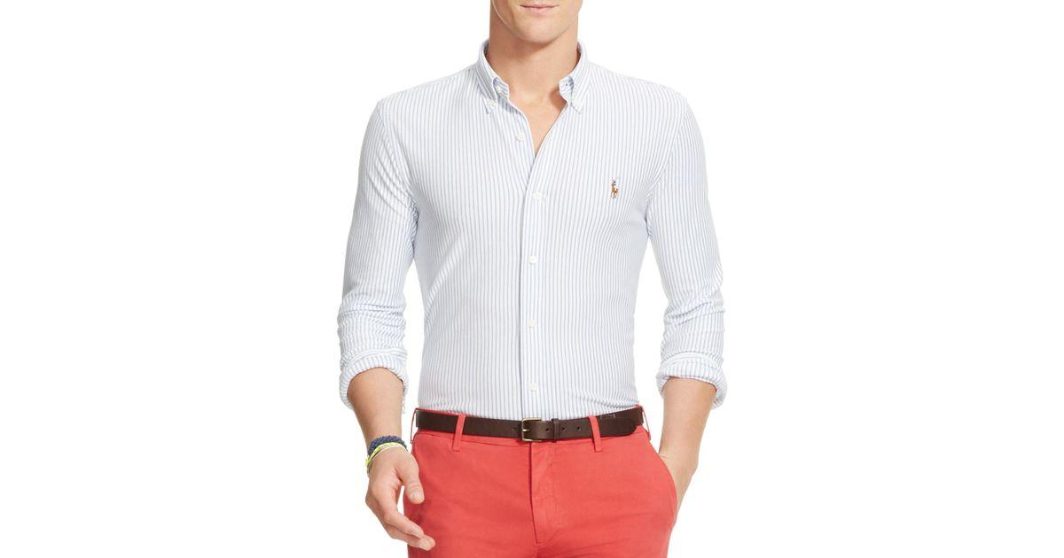 Polo ralph lauren striped knit oxford slim fit button down for Slim fit white button down shirt