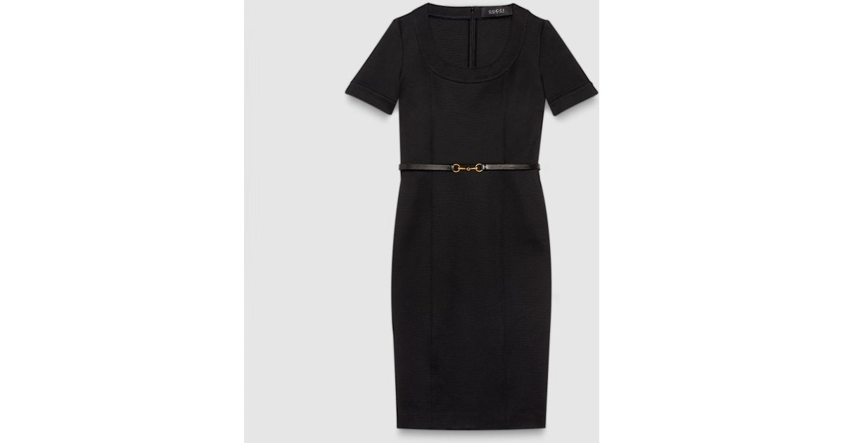 59878225d Gucci Viscose Jersey Belted Dress in Black - Lyst