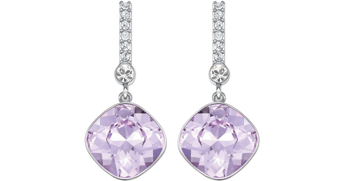 Lyst Swarovski Silvertone And Lilac Crystal Drop Earrings In Purple