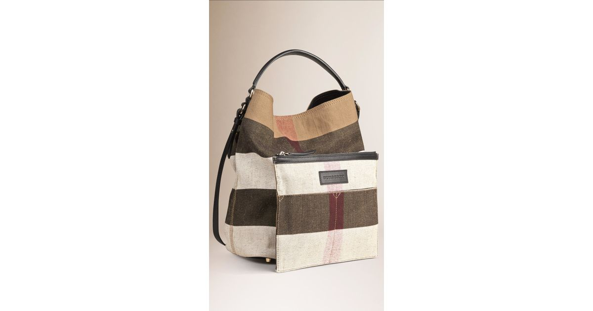 a11330d616f1 Lyst - Burberry The Medium Ashby Canvas Check And Leather Bag in Black