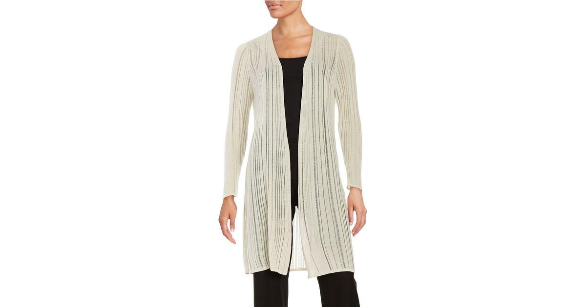 Duster Jacket Knitting Pattern : Eileen fisher Knit Duster Cardigan in Beige Lyst
