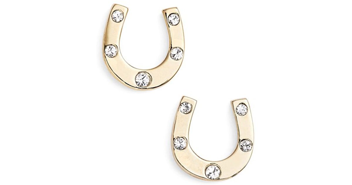 Lyst Kate Spade New York Horseshoe Stud Earrings Clear Gold In Metallic
