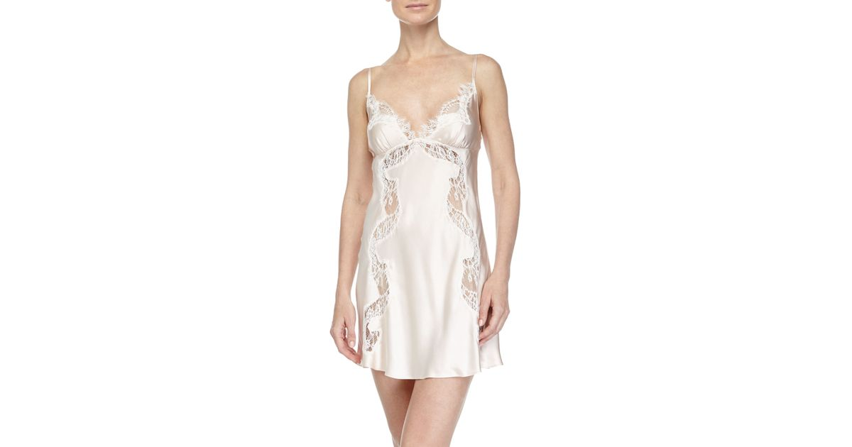 Lyst - Christine Ever After Lace-inset Chemise in Pink 33c3156fc