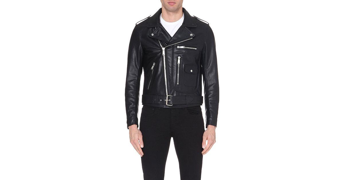 Sandro Leather Biker Jacket For Men In Black For Men Lyst