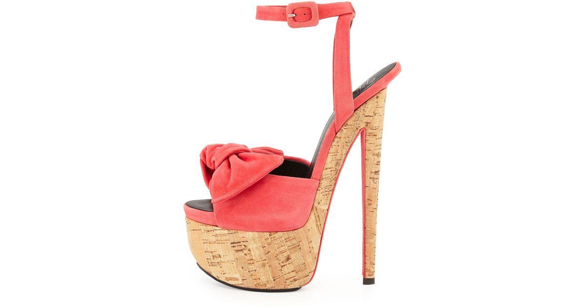 38fc2efe4b5c5 Giuseppe Zanotti Denny Suede High-Heel Sandal W/ Bow in Pink - Lyst