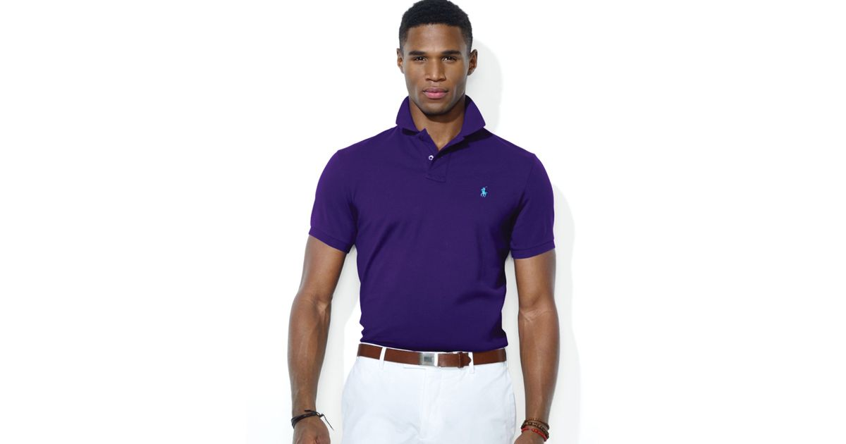 Ralph lauren Polo Custom Stretch Mesh Polo Shirt Slim Fit in Purple for Men | Lyst