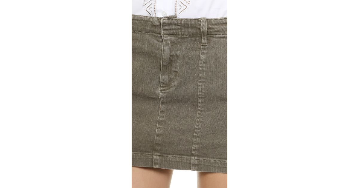 Nili lotan Moto Mini Jean Skirt - Olive in Green | Lyst