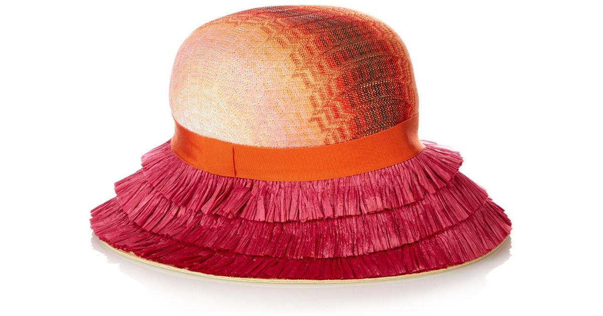 b5099eab246a67 Missoni Fringed Brim Straw Hat in Pink - Lyst