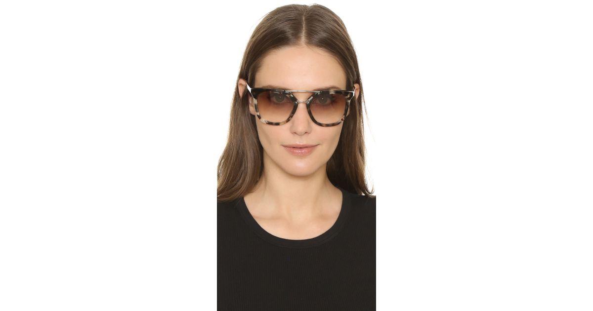 750e3f1dddd4 Prada Thick Frame Aviator Sunglasses in Brown - Lyst