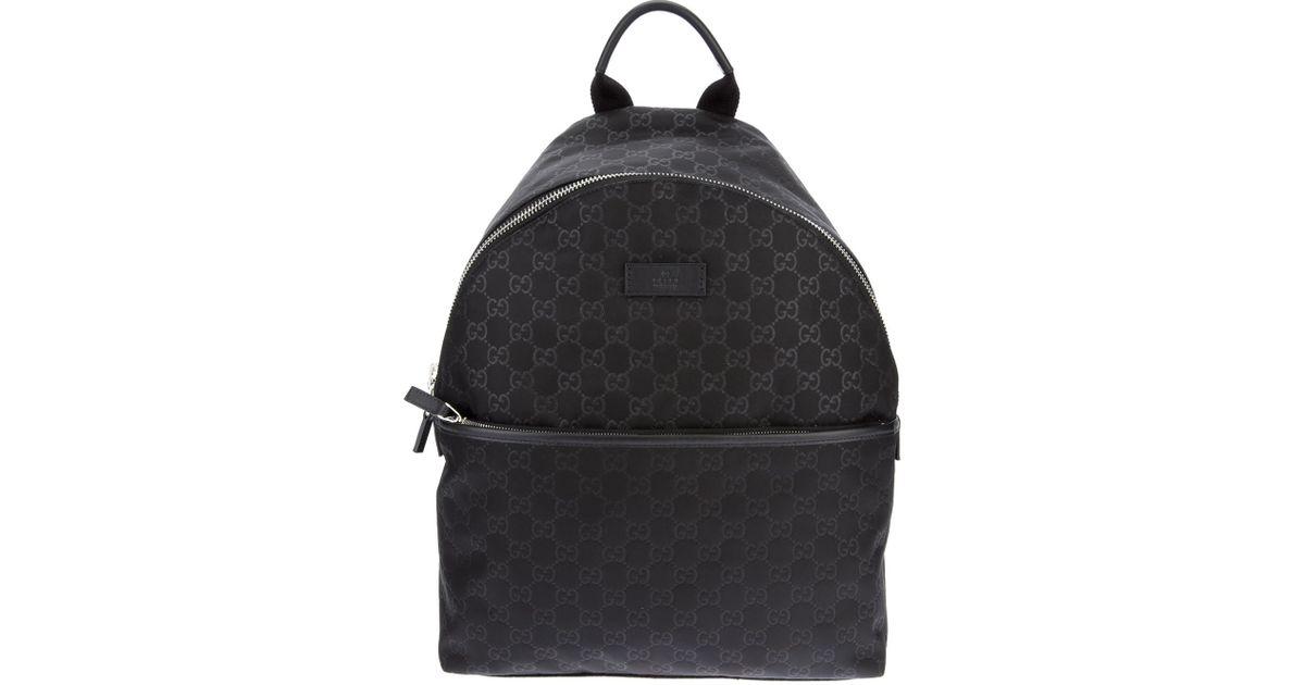 84ef29b15b3d Gucci Embossed Monogram Backpack in Black - Lyst