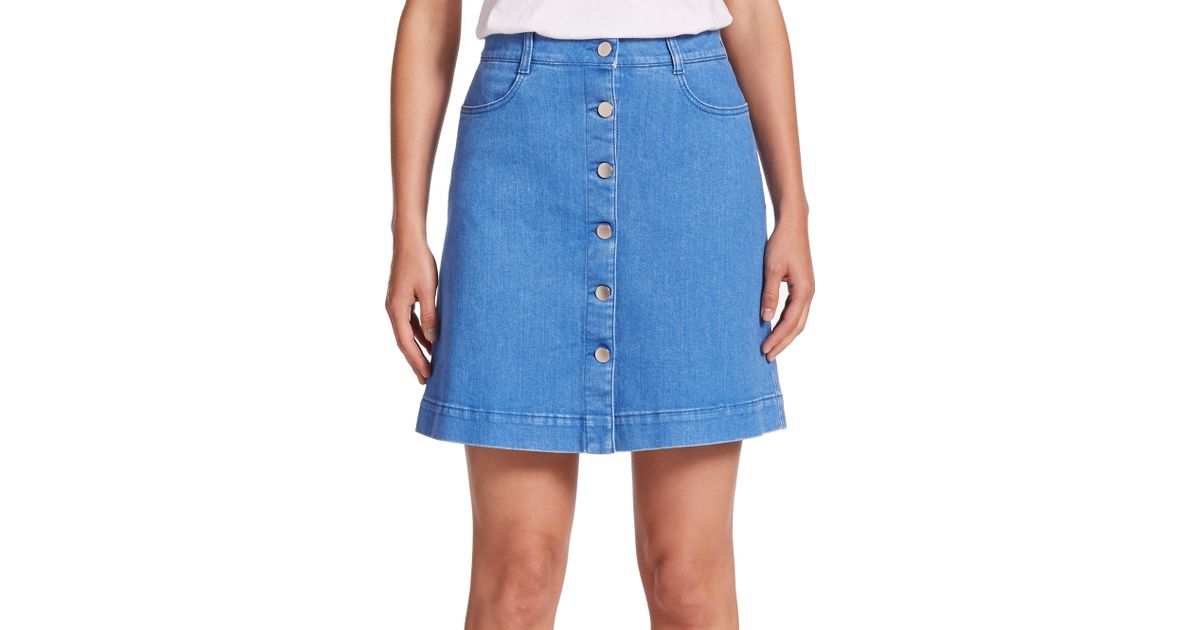 Stella mccartney Button-front A-line Denim Skirt in Blue | Lyst