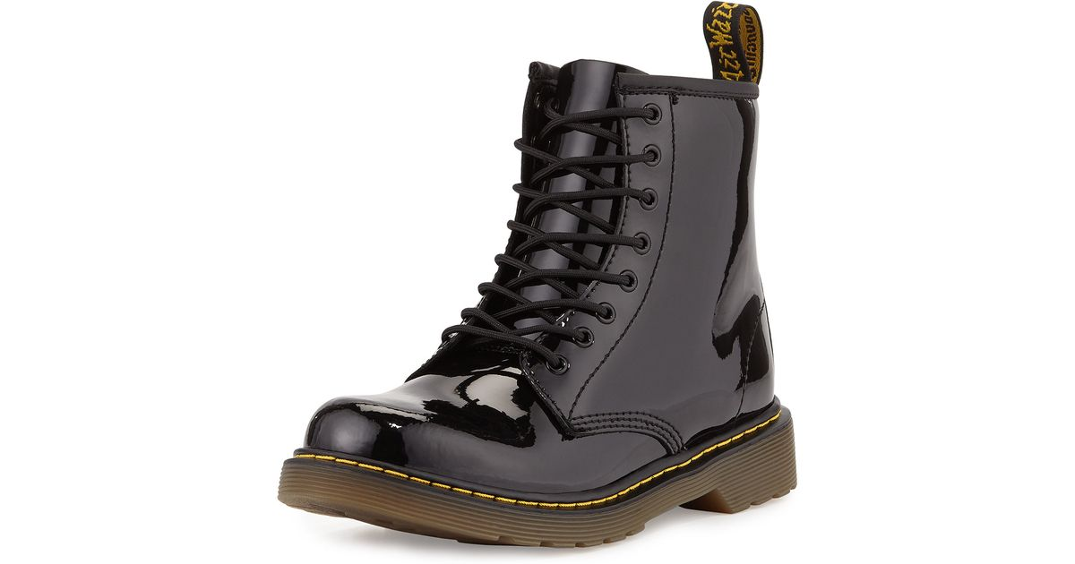 Dr Martens Delaney Patent Leather Military Boots In Black
