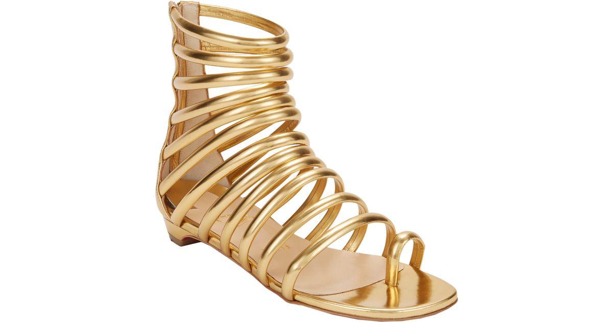 14fa3f37805f ... low price christian louboutin catchetta flat gladiator sandals in metallic  lyst b02ef e9326