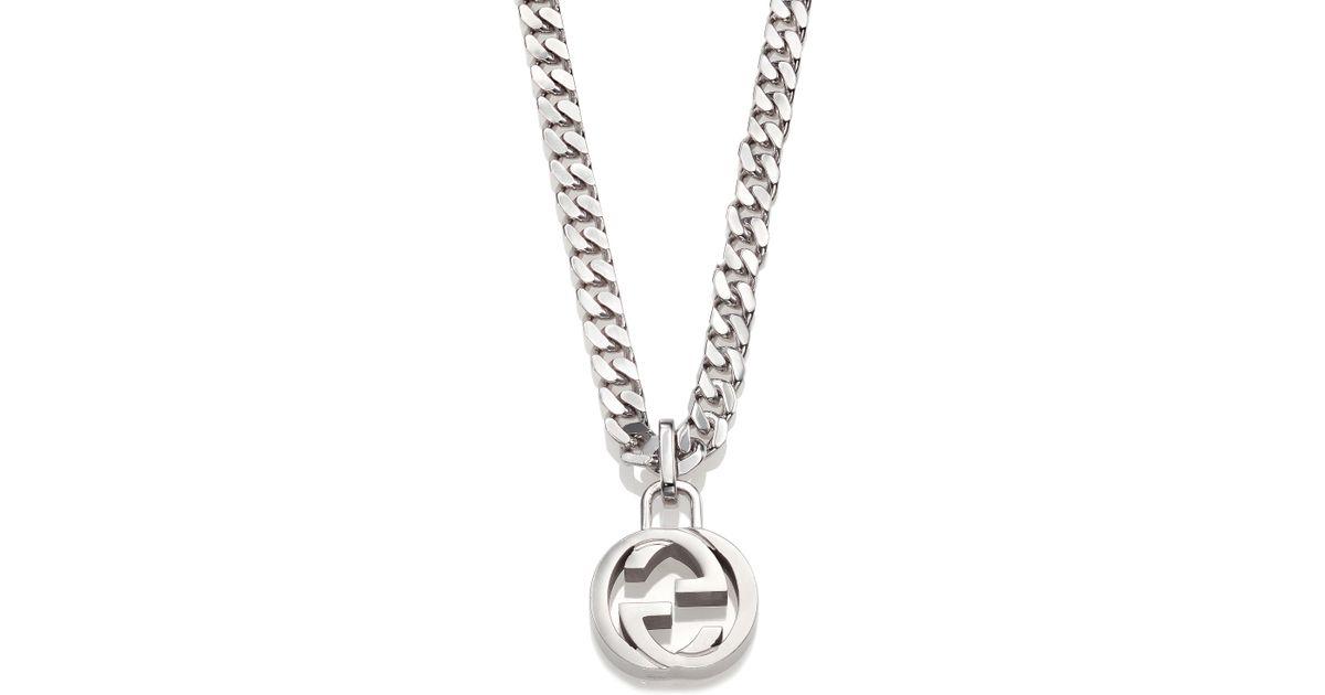 ef5db7d6d Gucci Interlocking Silver Necklace in Metallic for Men - Lyst