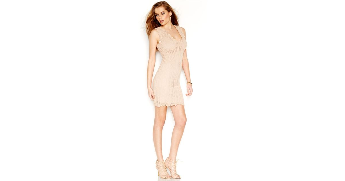 56ad6b7b004 Guess Pointelle-Knit Bodycon Dress in Pink - Lyst