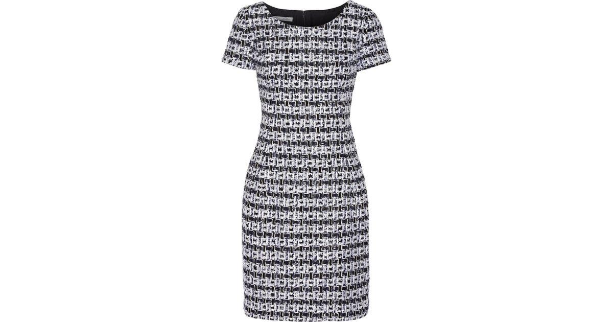 Lyst - Oscar De La Renta Bouclé-tweed Mini Dress in Blue