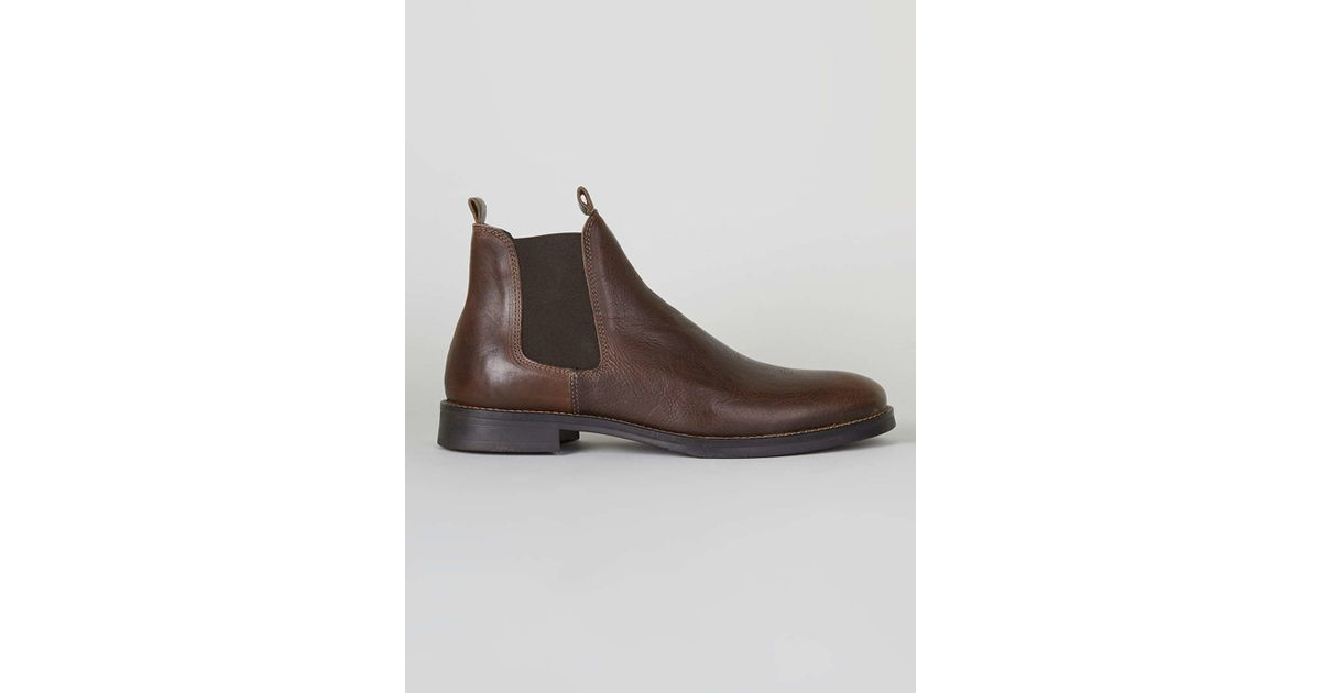 topman selected homme brown leather chelsea boots in brown for men lyst. Black Bedroom Furniture Sets. Home Design Ideas