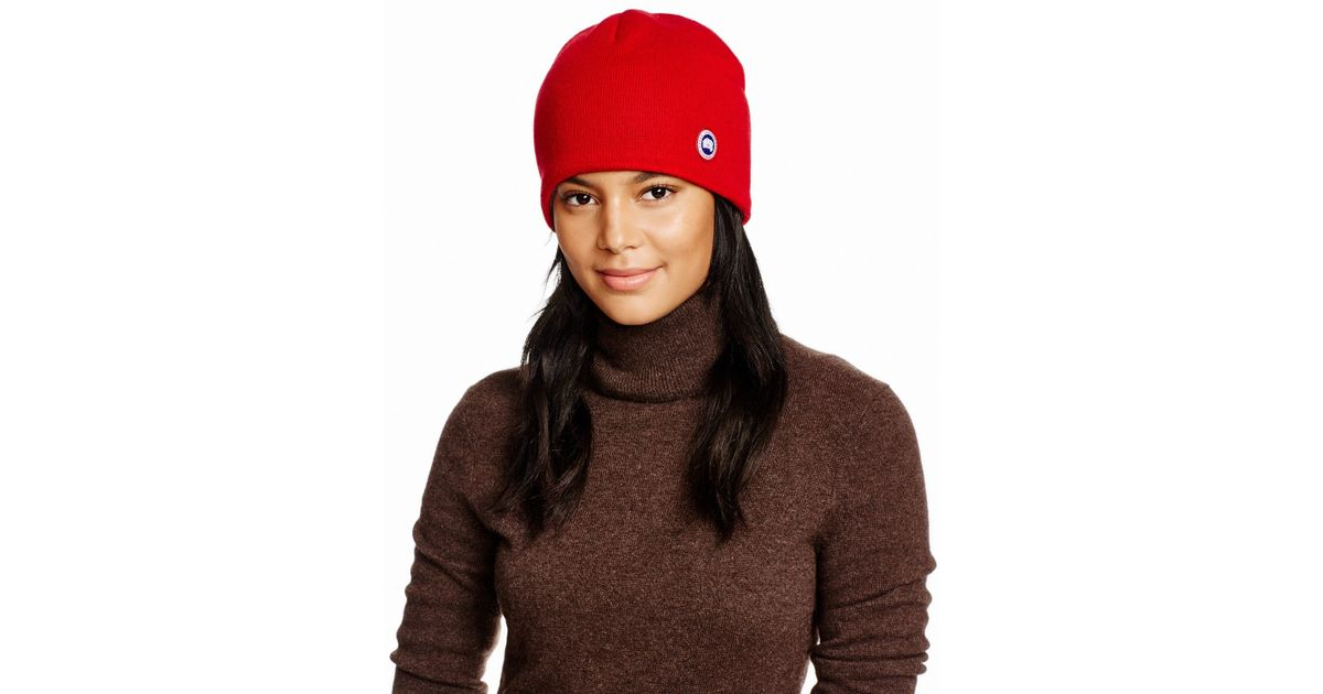 Canada Goose Merino Wool Beanie in Red - Lyst 97a4c275b52