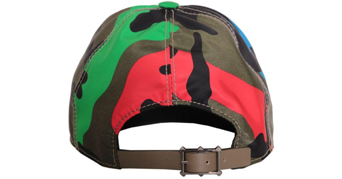 2e490ce8ae1 Lyst - Valentino Psychedelic Camouflage Nylon Cap for Men