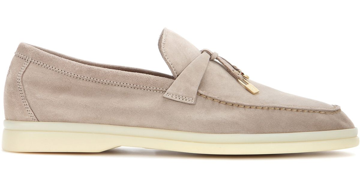 74a832b7511 Loro Piana Summer Charms Walk Suede Loafers in Natural - Lyst
