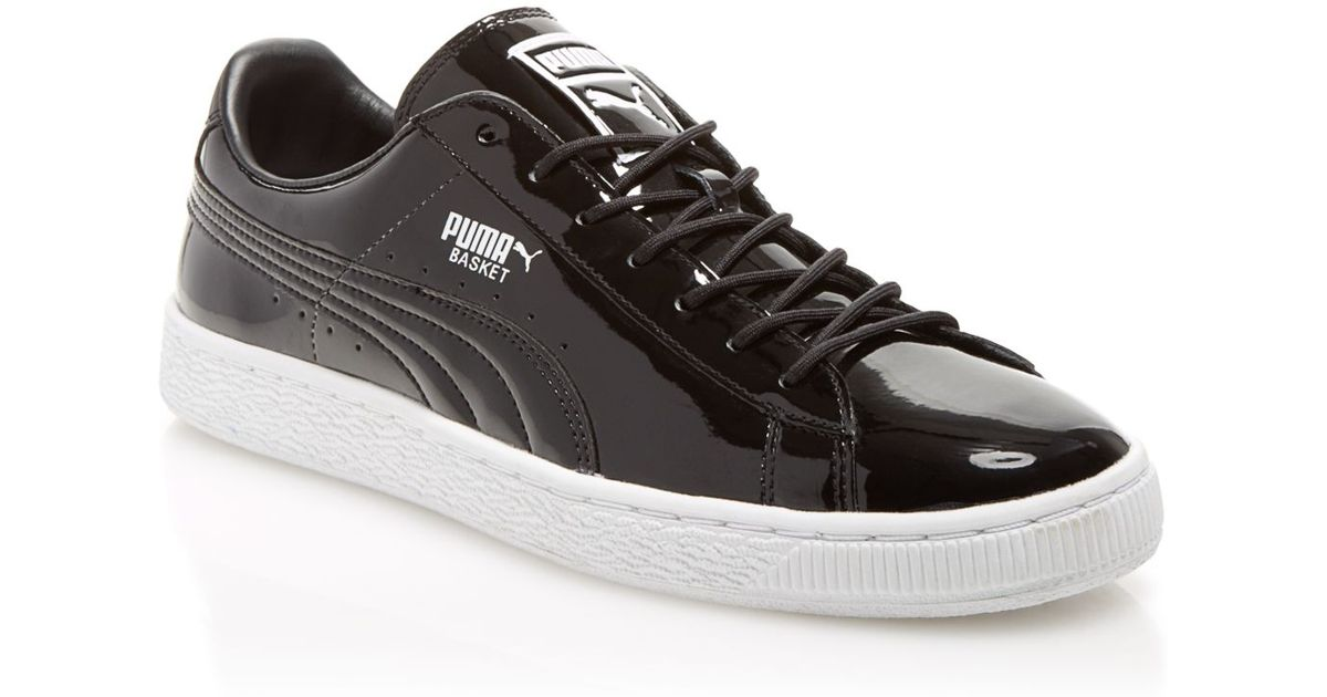 Puma basket patent leather sneakers in black for men black white