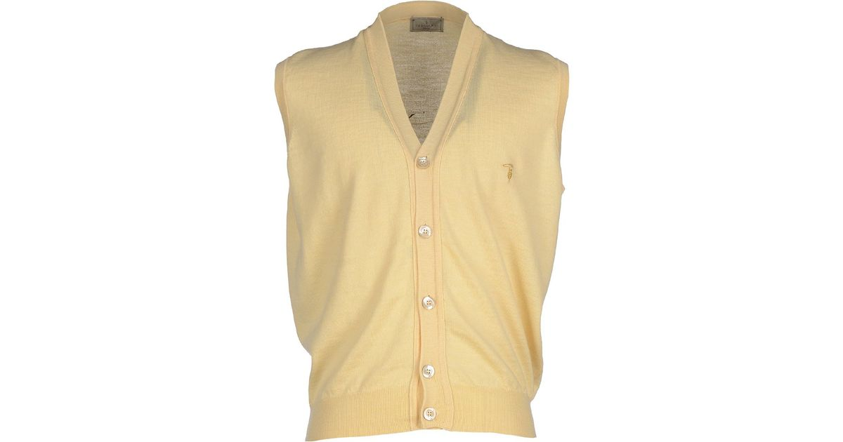 Trussardi Cardigan in Yellow for Men | Lyst