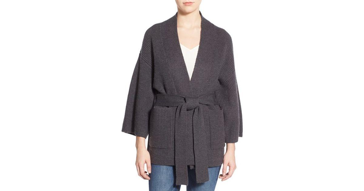 Amour vert 'edisa' Merino Wool Kimono Cardigan in Gray | Lyst