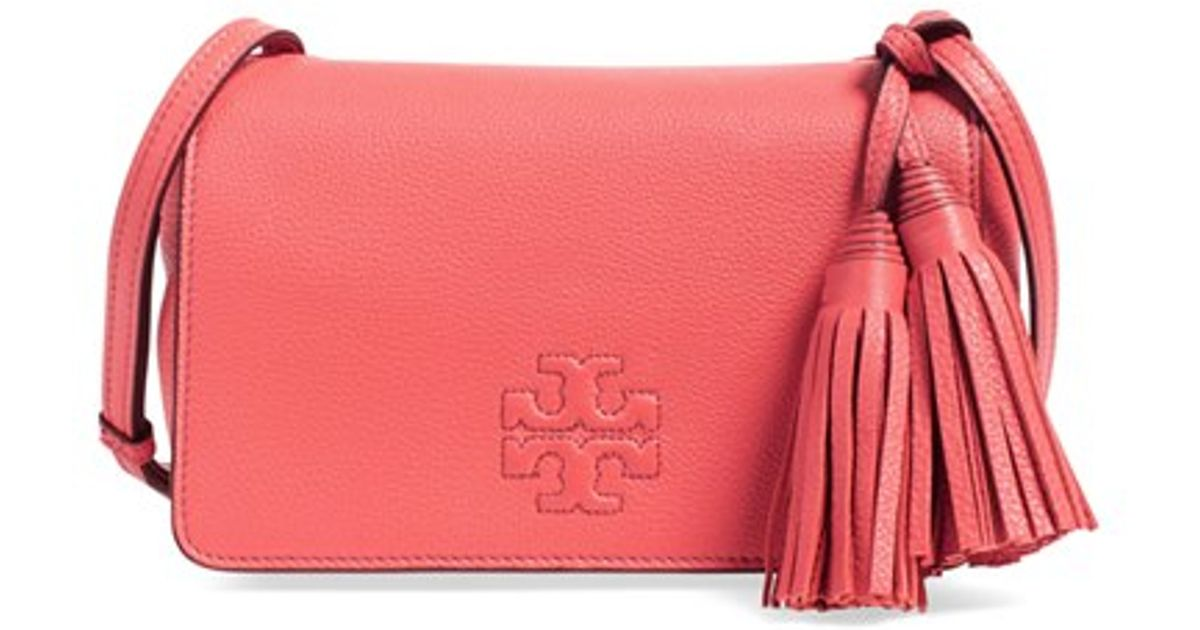 fcf8a2df924 Lyst - Tory Burch Thea Mini Leather Cross-Body Bag in Pink