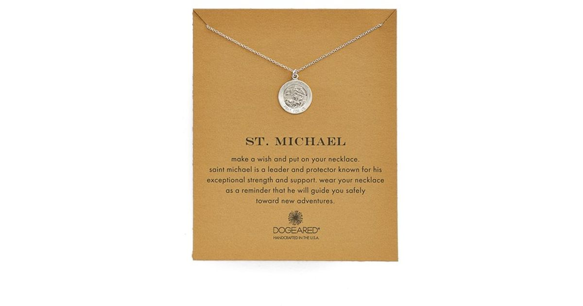 Lyst dogeared st michael pendant necklace in metallic aloadofball Images
