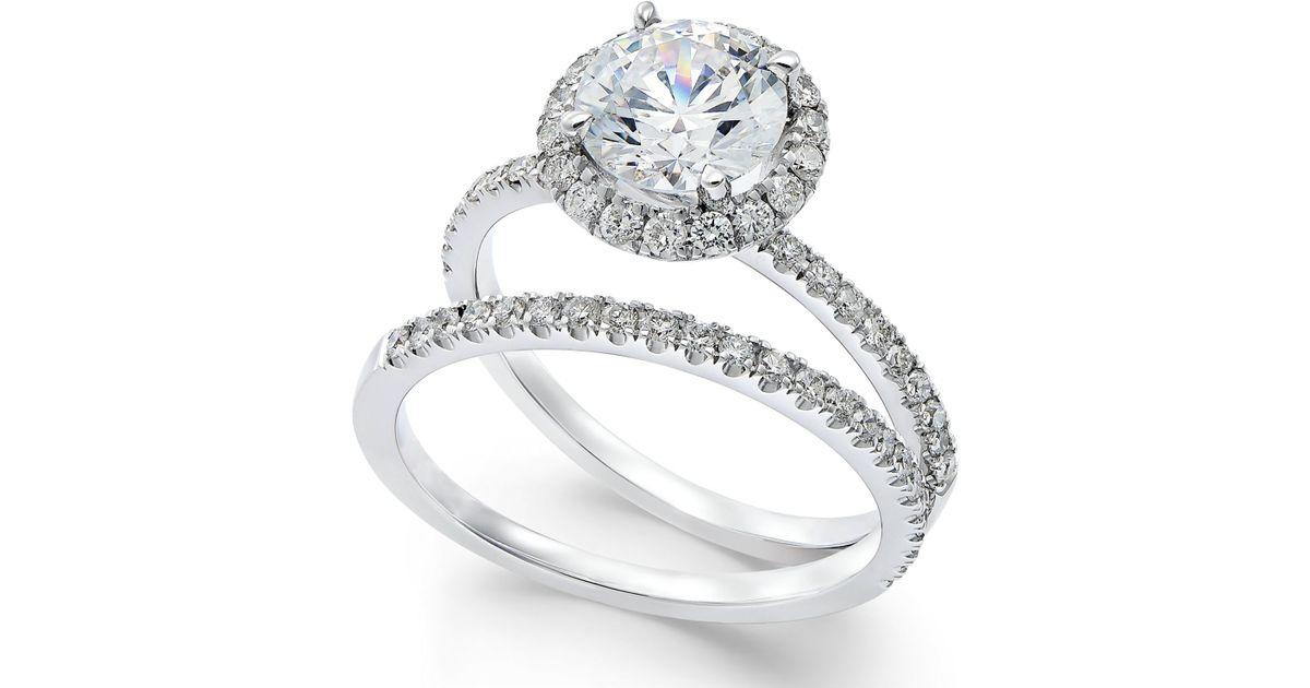 Macy s Certified Diamond Bridal Set In Platinum 2 1 10 Ct T w in Silv