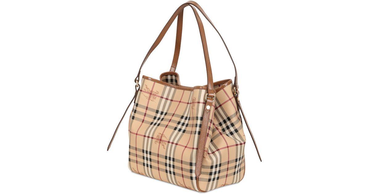 e2e43bad1468 Burberry Small Canterbury Haymarket Bag in Brown - Lyst