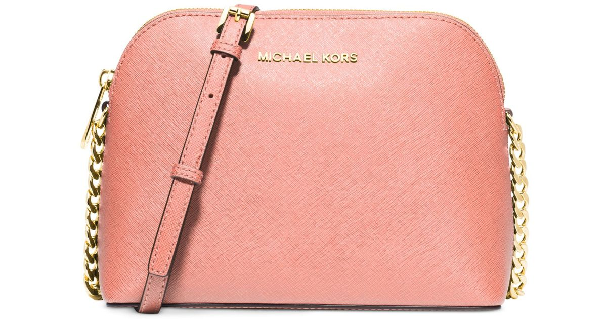 b3b58187d0ff Lyst - Michael Kors Michael Cindy Large Dome Crossbody in Pink