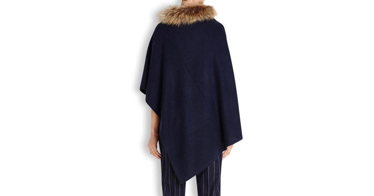 ef7946cfc Dom Goor Navy Fur-trimmed Cashmere Poncho in Blue - Lyst
