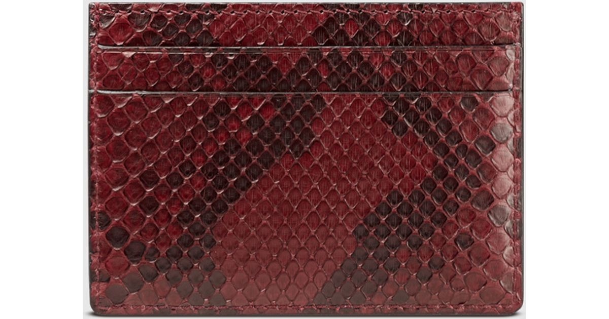90cd95115a7 Lyst - Gucci Python Card Case in Red for Men