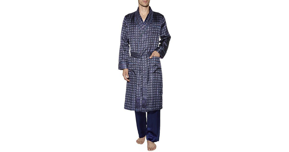 Derek Rose Verona Silk Dressing Gown in Blue for Men - Lyst adc7f522c