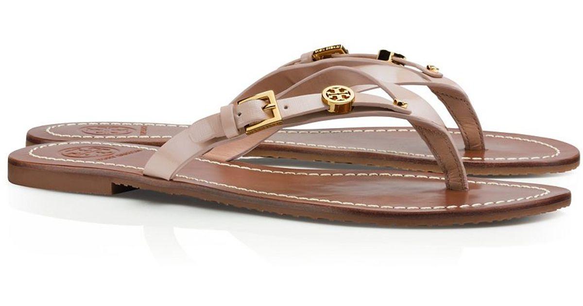 8c750d2890af Tory Burch Monogram Flat Thong Sandal in Pink - Lyst