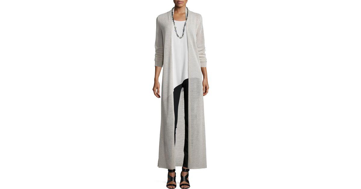 Eileen fisher Merino-Wool Maxi Cardigan in Gray | Lyst