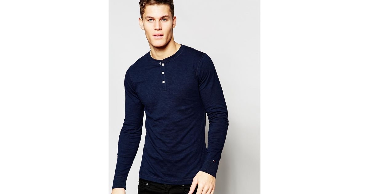 cbde1554 Tommy Hilfiger Long Sleeve T-shirt With Henley Navy in Blue for Men - Lyst