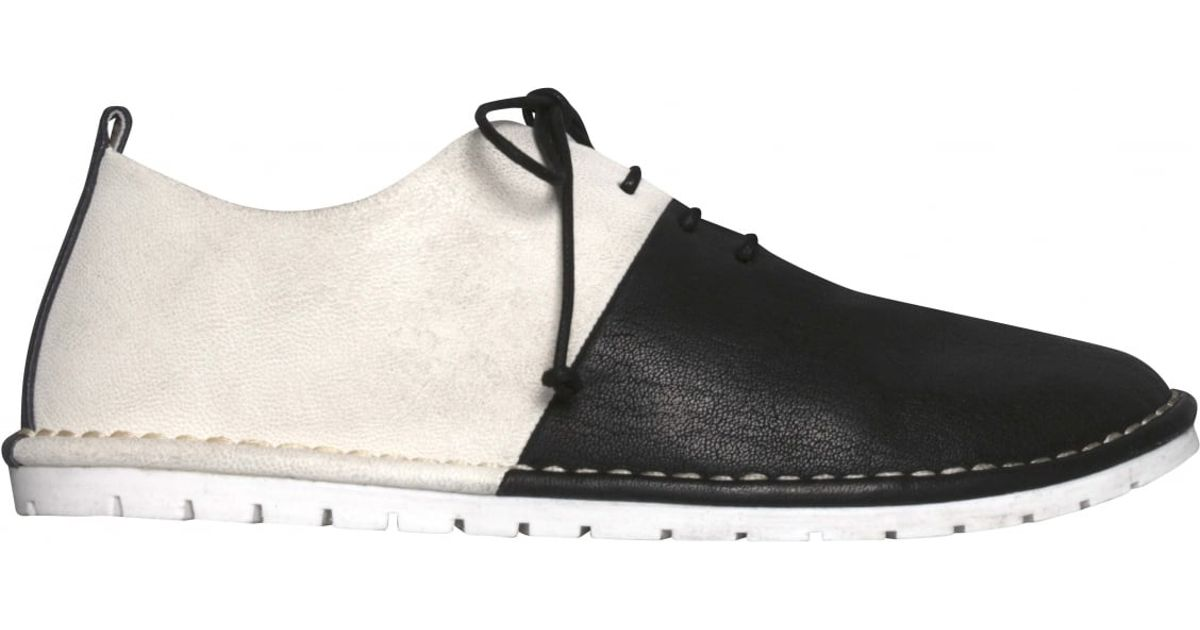 mars 232 ll black white two tone leather lace up shoes in