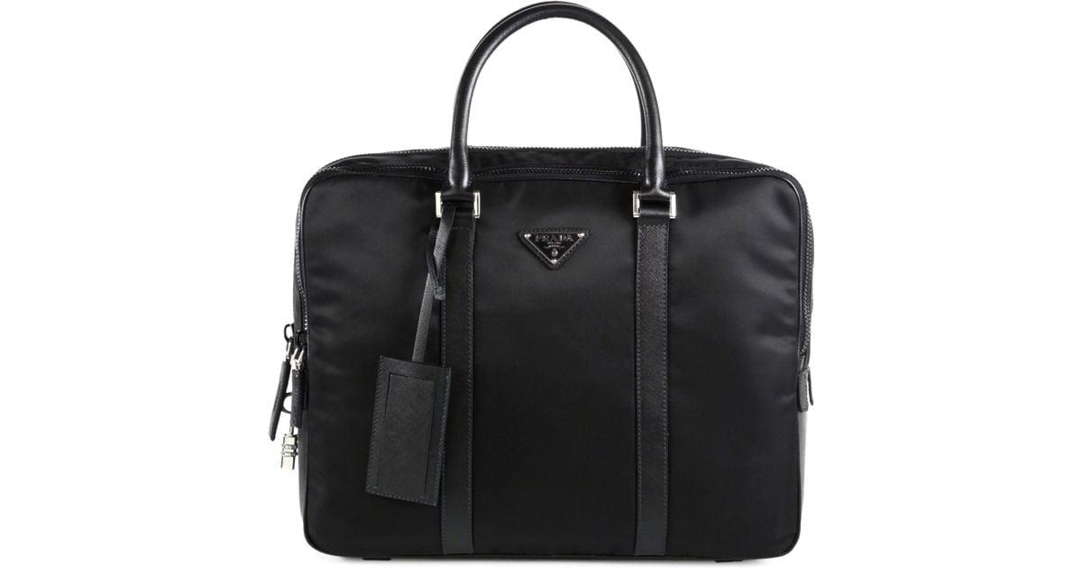 Lyst - Prada Nylon Saffiano Computer Briefcase in Black for Men 621ad17547c76