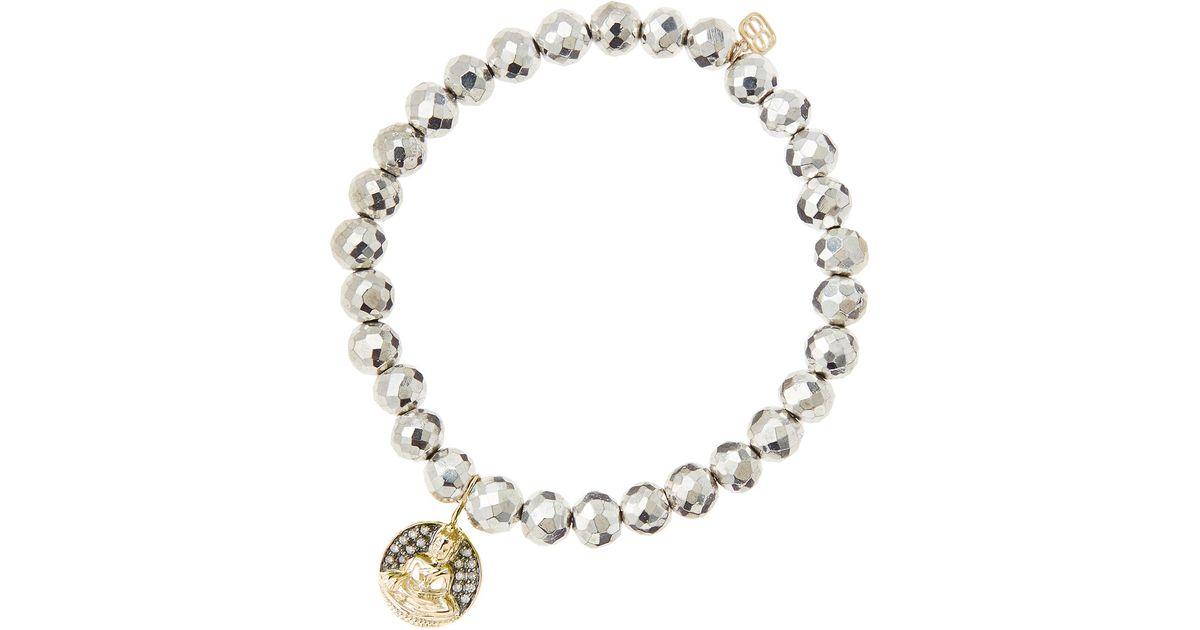 Sydney Evan Champagne Pyrite Bead Bracelet w/14K Gold Diamond Hamsa Charm zbNQCHvNE