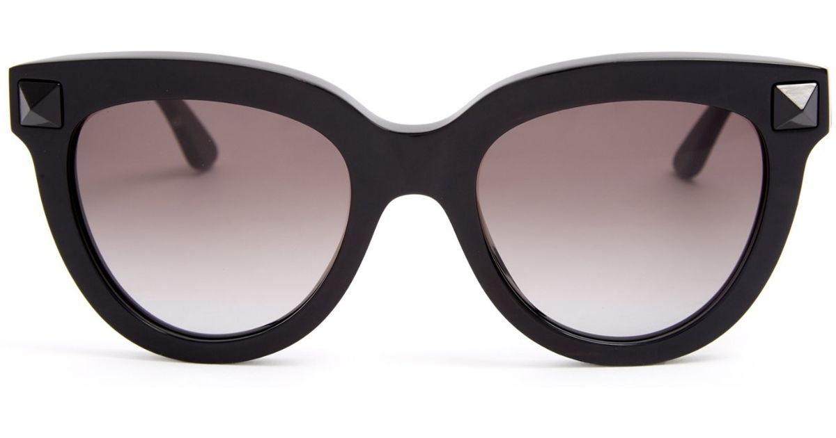 Lyst - Valentino Rockstud Cat-eye Frame Sunglasses in Black