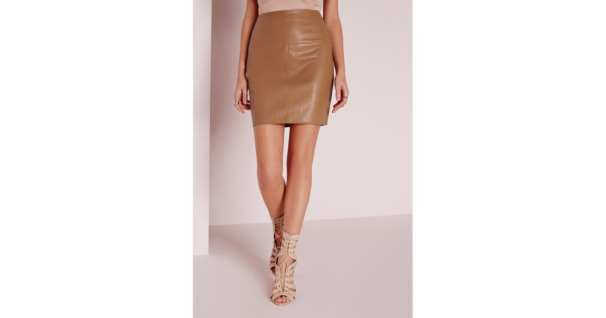 missguided faux leather mini skirt in camel in brown