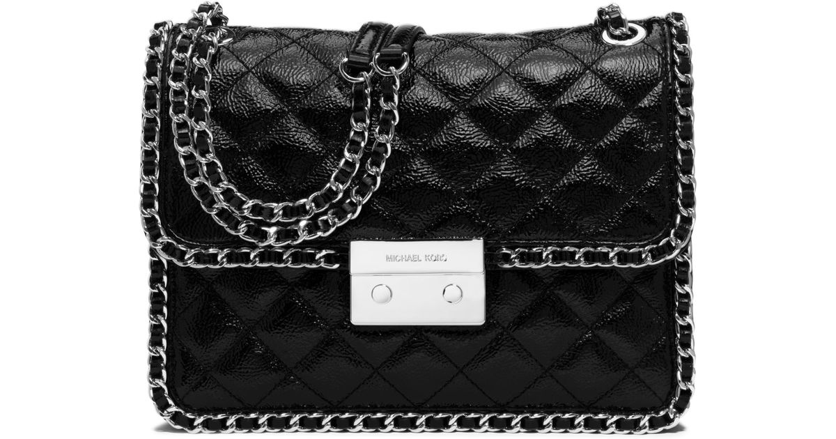 Lyst Michael Kors Carine Large Quilted Patent Leather Shoulder Bag In Black