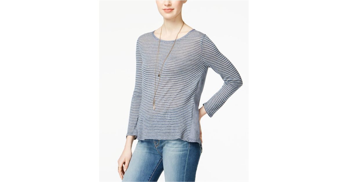 Lucky brand long sleeve striped t shirt in blue blue for Blue and white striped long sleeve t shirt